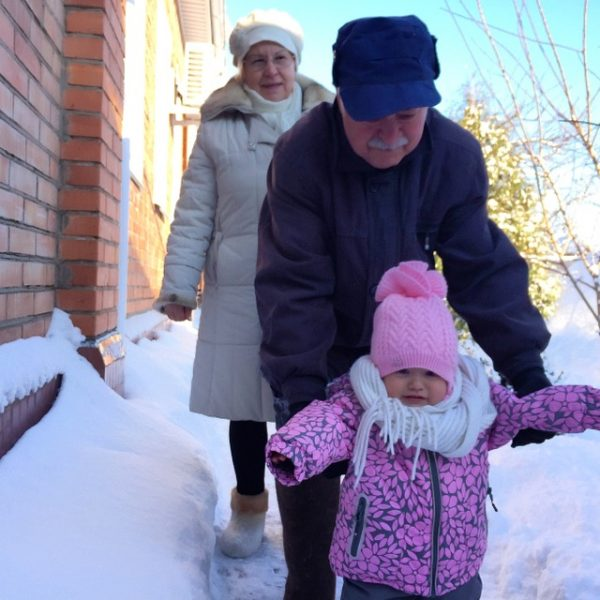 first winter snow experience with grandpa and grandma