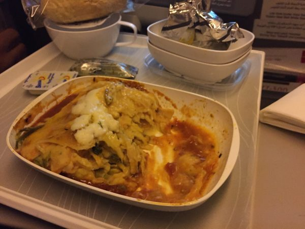 dinner on the emirates plane