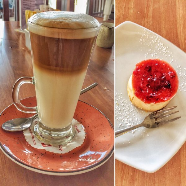 buca cheesecake and latte